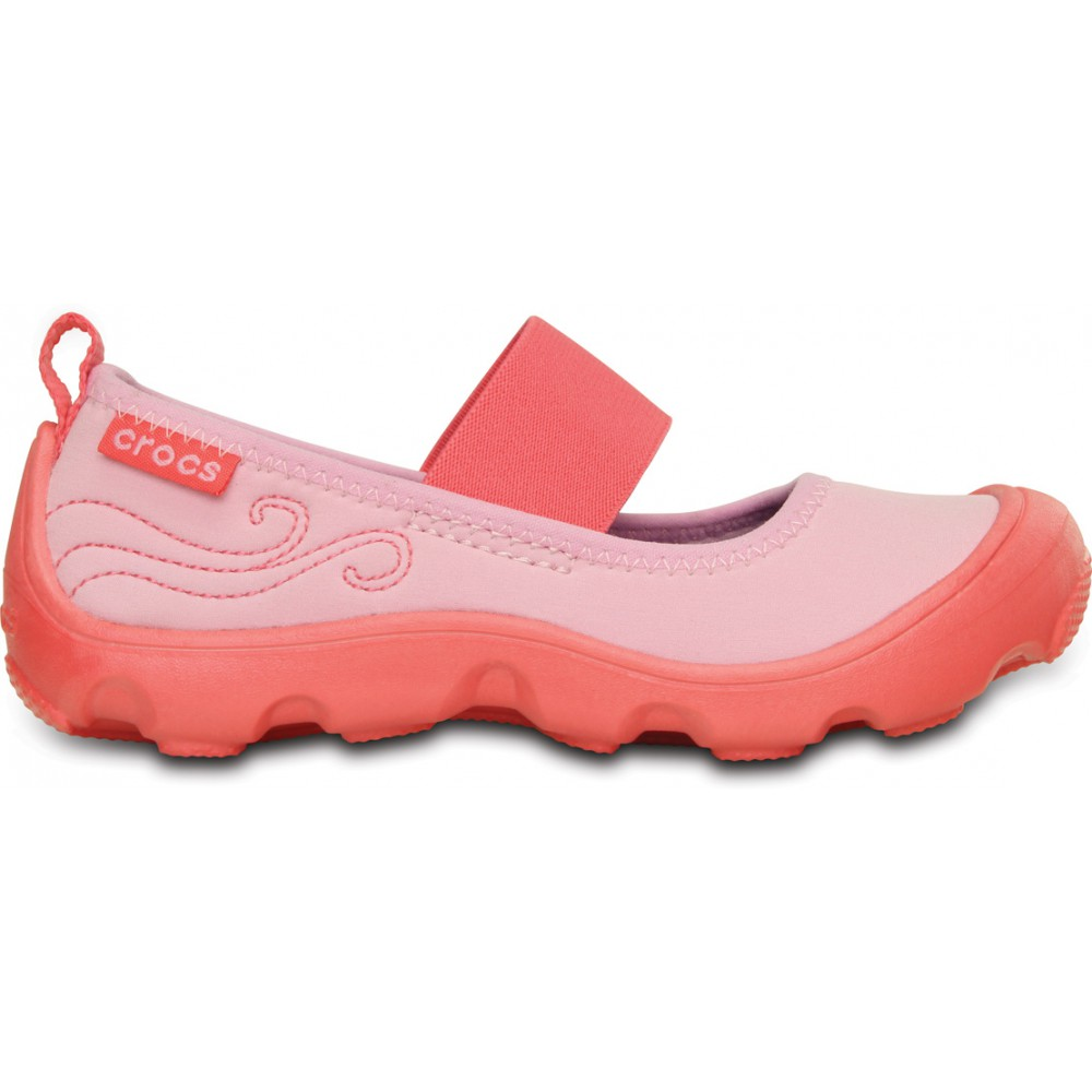 Crocs Duet Busy Day Mary Jane Kids 27-28 (C10) / Carnation/Coral