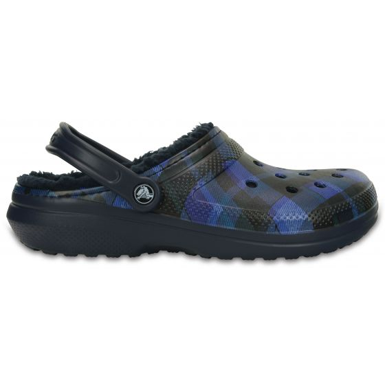 Crocs Classic Lined Graphic Clog 46-47 (M12) / Navy/Cerulean Blue